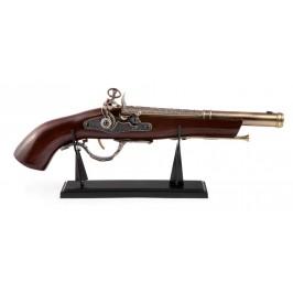 Красив старинен пистолет с двойно дуло на стойка