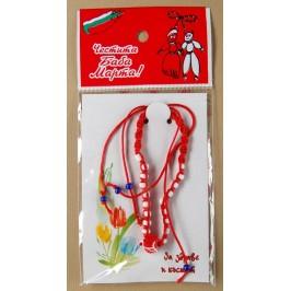 Мартеница плетена гривна с декоративна роза и мъниста