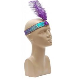 Парти аксесоар - лента за глава с пайети, цветно камъче и перо
