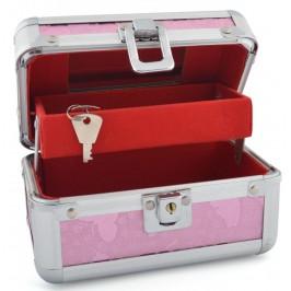 Стилна метална кутия за бижута с розов брокат