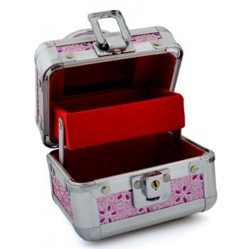 Стилна кутия за бижута, декорирана с розов брокат