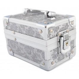 Кутия за бижута от метал, декорирана с розов брокат