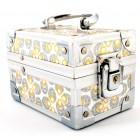 Стилна кутия за бижута, декорирана със златист и сребрист брокат