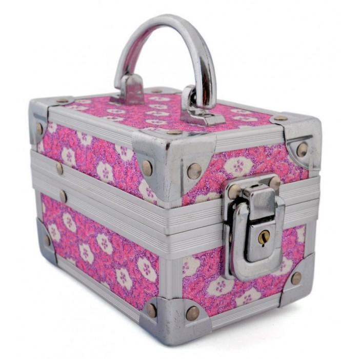 Стилна метална кутия за бижута, декорирана с розов брокат