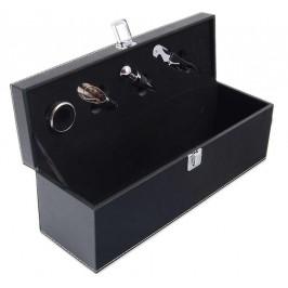 Луксозна кутия за една бутилка, включваща: тирбушон, тапа, ринг и лиек
