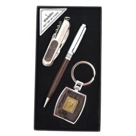 Луксозен подаръчен комплект, включващ химикал, ключодържател и джобен нож