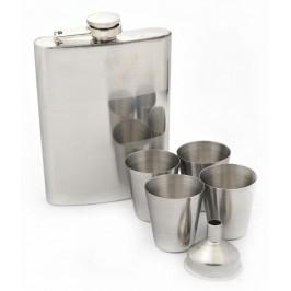 Метална манерка с дозатор и четири декоративни чаши