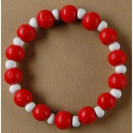 Мартеница ластична гривна с дървени сферични орнаменти в бяло и червено