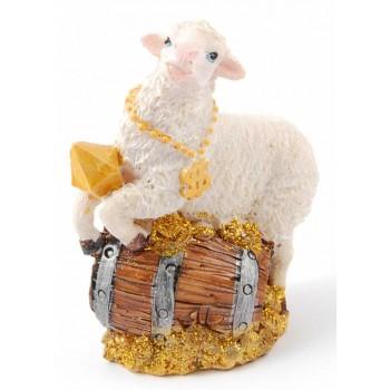 Сувенирна фигурка, тип касичка във формата на овца върху монети