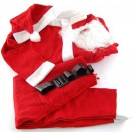 Коледен костюм от полар в бяло и червено - пет части