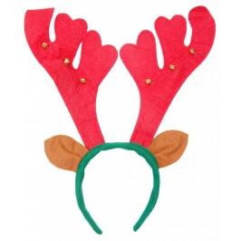 Коледна диадема - еленови рога с ушички, декорирана със звънчета