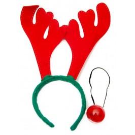 Коледен комплект - диадема с еленови рога и светещ нос