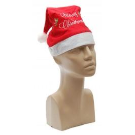 Коледна шапка с надпис - Весела Коледа, изработена от мек полар