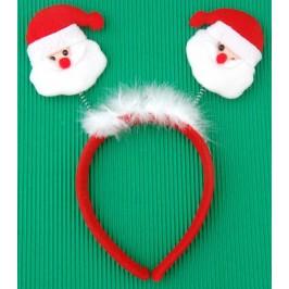 Коледна диадема с пух и декоративни фигурки - Дядо Коледа