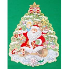 Коледна декорация от картон - елха с тематични изображения и 3D елементи