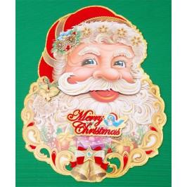 Коледна декорация от картон - Дядо Коледа с тематични изображения и 3D елементи