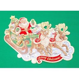Коледна декорация от картон - Дядо Коледа с шейна и 3D елементи
