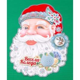 Коледна декорация от картон - Дядо Коледа с 3D елементи