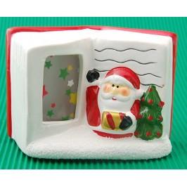 Коледна фигурка във формата на книга с тематични изображения и светеща страница