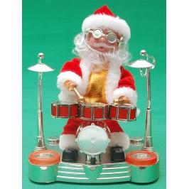 Декоративна музикална фигурка - Дядо Коледа барабанист
