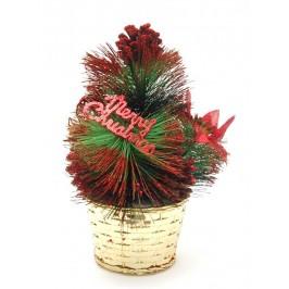 Красиво украсено декоративно коледно дръвче с поставка и надпис - Весела Коледа