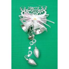 Тематична коледна украса за окачване - камбанки, шишарки, декоративно цвете с панделка, еленчета и надпис - Весела Коледа