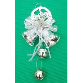 Тематична коледна украса за окачване с брокат - камбанки, звънчета, декоративно цвете с панделка и музикални ноти