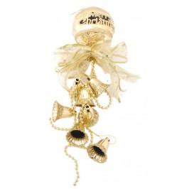 Тематична коледна украса за окачване с брокат - декоративни камбанки, панделка и топка с надпис - Весела Коледа
