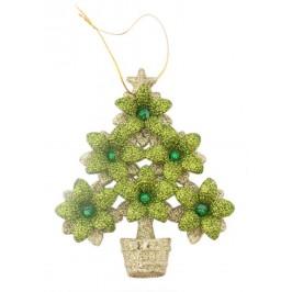 Коледна украса - релефна елхичка с брокат