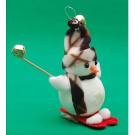 Декоративна коледна фигурка за окачване - снежен човек скиор