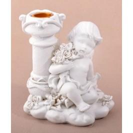 Малък декоративен свещник, декориран с ангел с букет рози