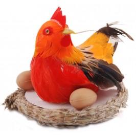 Декоративна музикална фигурка в кошничка - кокошка с разперени криле и две яйца