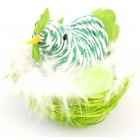 Декоративни фигурки в кошничка с пух - кокошка и Яйце