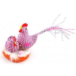 Декоративни музикални фигурки - Великденски петел и кокошка с яйце в кошничка