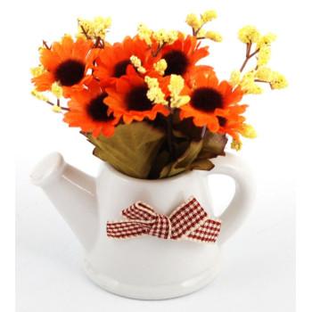 Декоративни цветя от плат в саксия - чайник