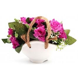 Декоративни цветя от плат в саксия