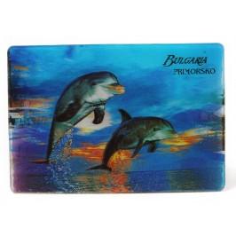 Магнитна пластинка с холограмни изображения - хотел в Приморско и два делфина