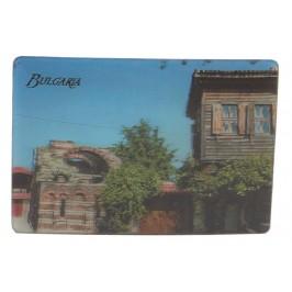 Магнитна пластинка с холограмни изображения - старинна къща и два делфина