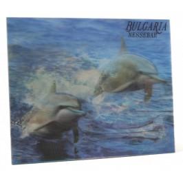 Магнитна пластинка с холограмни изображения - капитанска среща в Несебър и два делфина