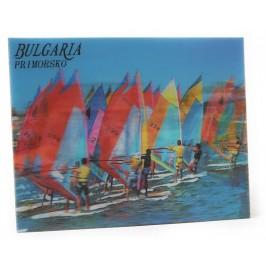 Магнитна пластинка с холограмни изображения -хотел в Приморско и сърфисти