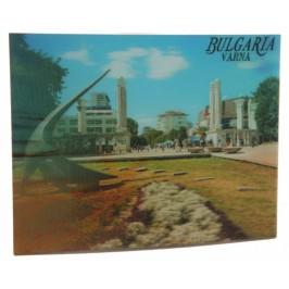Магнитна пластинка с холограмни изображения - слънчевия часовник във Варна и морска звезда