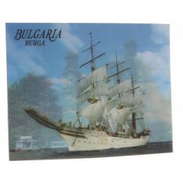 Магнитна пластинка с холограмни изображения - църква в Бургас и платноход