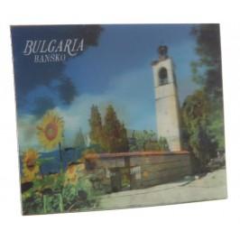 Магнитна пластинка с холограмни изображения - кула в Банско и слънчогледи