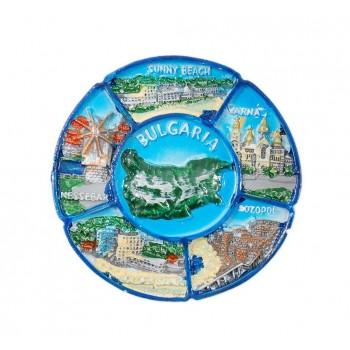 Кръгла магнитна фигурка с изобразени забележителности по Българското Черноморие