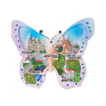 Сувенирна магнитна фигурка във формата на пеперуда с изобразени забележителности по Бъргарското Черноморие
