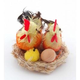 Великденска фигурка - кокошка и петел в гнездо с яйце и малко пиленце