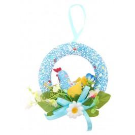 Великденска украса - венец, декориран с пиленце и изкуствени цветя