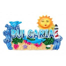 Релефна магнитна фигурка с надпис България - слънце, делфини и фар