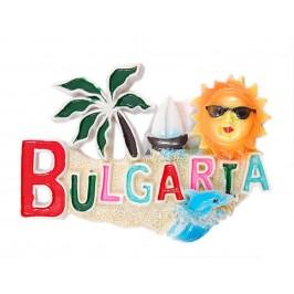 Релефна магнитна фигурка с надпис България - слънце, палма, платноходка и делфин