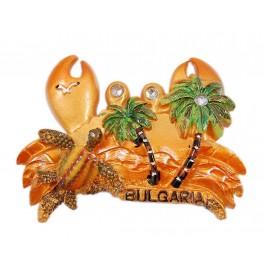 Сувенирна магнитна фигурка във формата на рак с изобразени костенурка и палми
